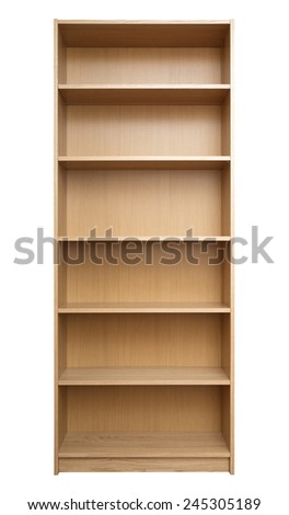 New empty book-case isolated over white background - stock photo