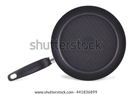 New empty frying pan isolated on white with clipping path. - stock photo