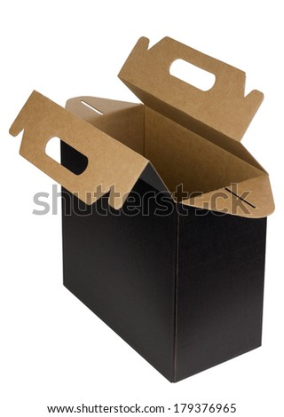 New empty opened box of dark loose corrugated cardboard for wine bottles isolated. Mass production, selective focus - stock photo