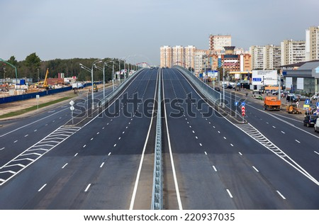 New empty overpass near Moscow in Kotelniki, Russia - stock photo