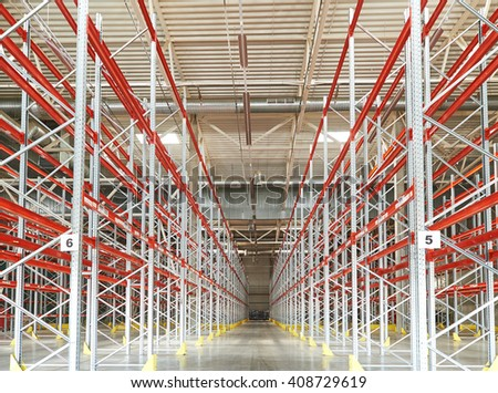 new empty warehouse - stock photo