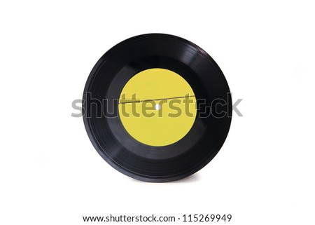 New empty yellow gramophone vinyl record isolated on white background