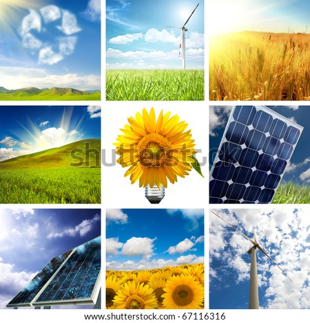 New energy concept with collage of various photo - stock photo