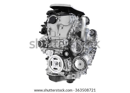 New engine of car isolated on white background with clipping path - stock photo