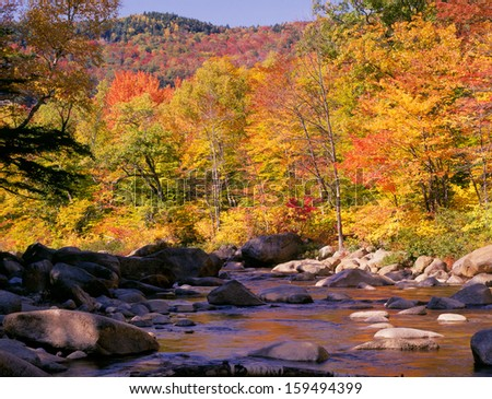 New England Autumn Colors and River - stock photo