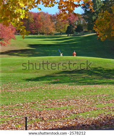 New England Golf in Autumn - stock photo