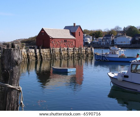 New England harbor of Rockport, MA - stock photo