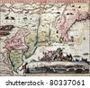 New England old map with New Amsterdam insert view. Created by Carel Allard, published in Amsterdam, 1700 - stock photo
