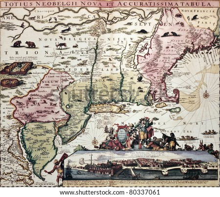 New England Old Map New Amsterdam Stock Photo Royalty Free - Amsterdam old map
