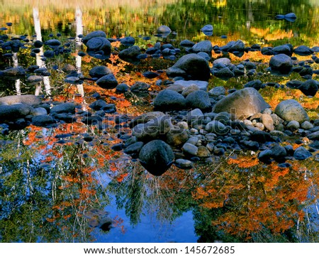 New England River Reflection - stock photo