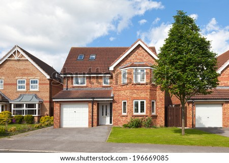 New english detached houses - stock photo