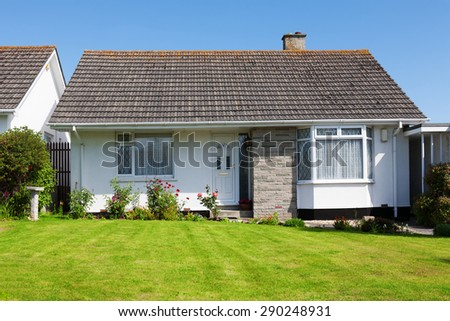 New English House with a Garden - stock photo