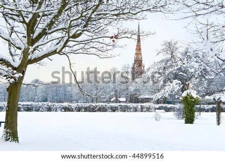 New English winter series: view of Platt Fields Park in Manchester covered with snow