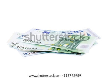 New euro banknotes isolated on white background