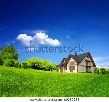 New family home in the mountains - stock photo