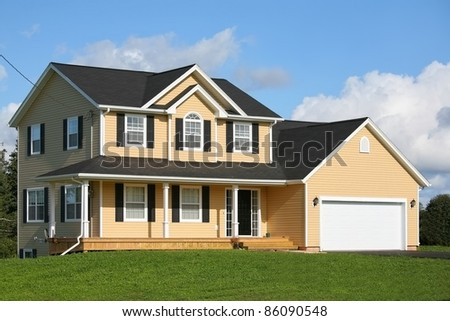 New family home in the suburbs. - stock photo