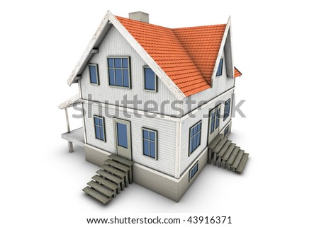 New family house. 3d illustration, isolated on white background