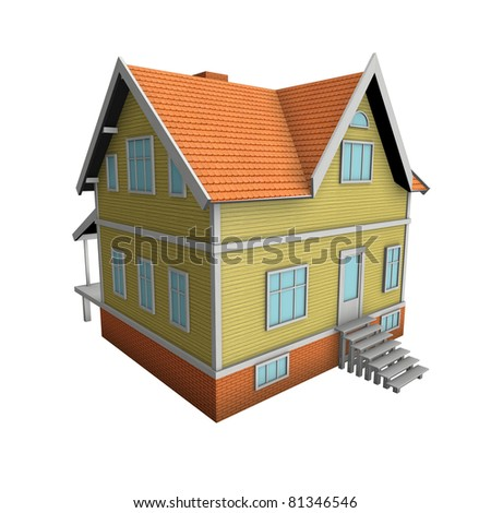 New family house. 3d illustration. Isolated on white, with clipping path.