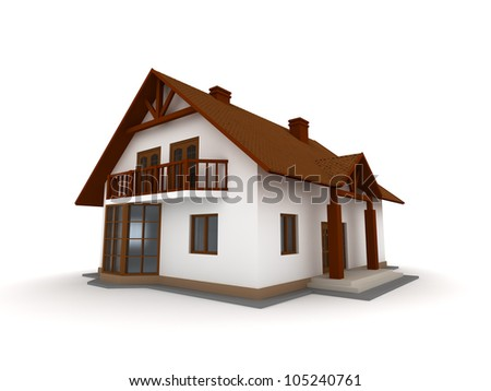 New family house isolated on white background - stock photo