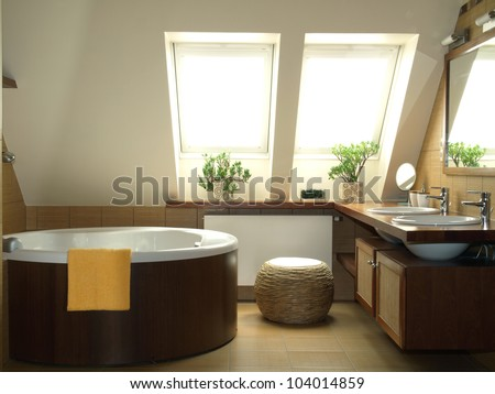 New fashionable bathroom in brown and white colors - stock photo