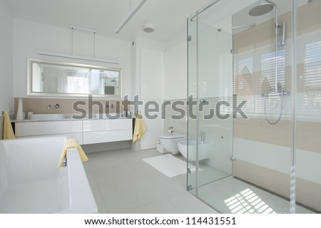 New finished bathroom in a modern house - stock photo
