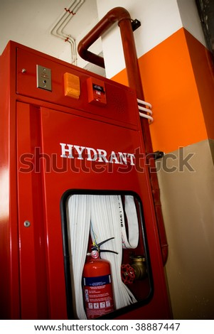 New fire hydrant panel box in the building - stock photo