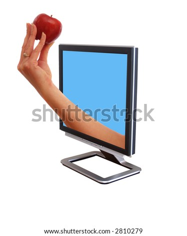 New flatscreen monitor with a an apple