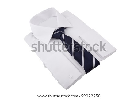 new folded shirt with necktie - stock photo