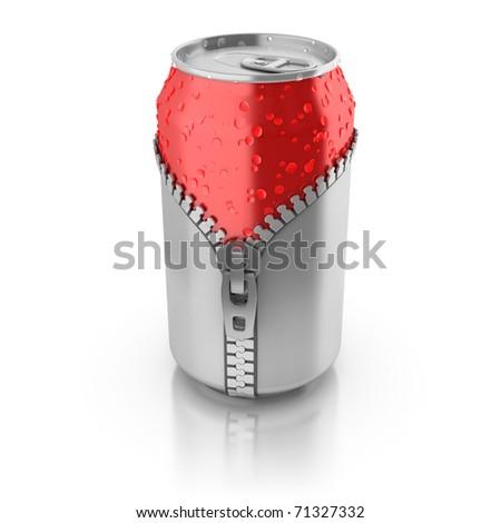 new fresh drink 3d concept - aluminium can unzipped - stock photo