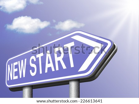 new fresh start or chance back to the beginning and do it again road sign arrow  - stock photo
