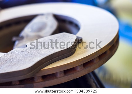 New front brake disks and pads for a modern - stock photo