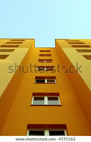new front of a block of flats - stock photo