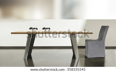 NEW FURNITURE LINE , MODERN DESIGN,  STRAIGHT LINES , ITEMS: TABLE WITH CHAIR . MATERIALS : WOOD, METAL, FABRIC - stock photo