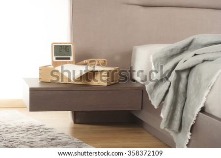 NEW FURNITURE LINE . MODERN DESIGN . STRAIGHT LINES . MATERIALS : WOOD ,  FABRIC . ITEMS : BED DETAILS - stock photo
