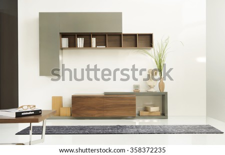 NEW FURNITURE LINE . MODERN DESIGN . STRAIGHT LINES . MATERIALS : WOOD ,/ . ITEMS : TV FURNITURE SET - stock photo