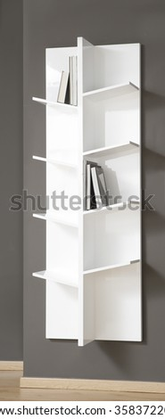 NEW FURNITURE LINE . MODERN DESIGN . STRAIGHT LINES . MATERIALS : WOOD . ITEMS : WALL SHELF FURNITURE - stock photo