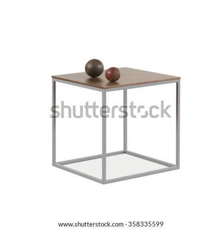 NEW FURNITURE LINE , MODERN DESIGN,  STRAIGHT LINES , MATERIALS : WOOD, METAL. ITEMS: SQUARE BOX TABLE - stock photo
