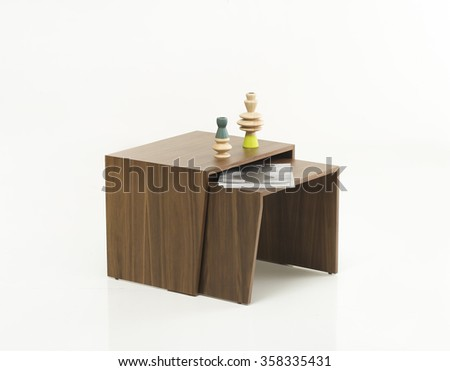 NEW FURNITURE LINE , MODERN DESIGN,  STRAIGHT LINES , MATERIALS : WOOD. TABLE - stock photo