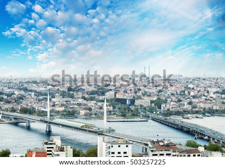 New Galata and Golden Horn Bridge, aerial view of Istanbul.