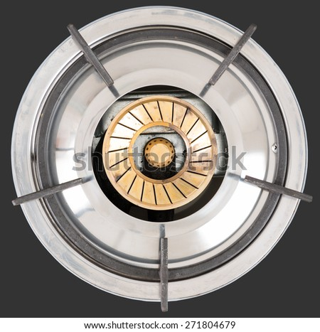 New gas stove the necessary kitchenware for home isolate on white background - stock photo