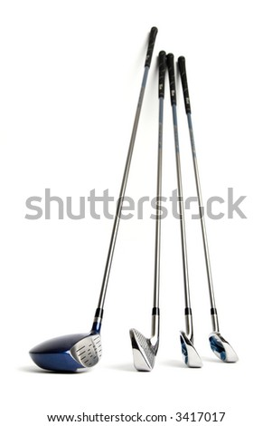 New golf clubs on white isolated background - stock photo