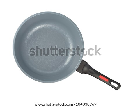 New gray kitchen pan isolated with clipping path on the white background - stock photo