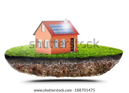 new green house with solar panel - stock photo