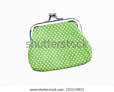 New Green Knit Change Coin Purse with clasp and polka dots pattern isolated on white - stock photo