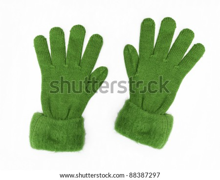 New Green Knit Wool Gloves isolated on white background - stock photo