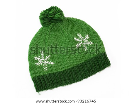 New Green Knit Wool Hat with Pom Pom isolated on white background - stock photo
