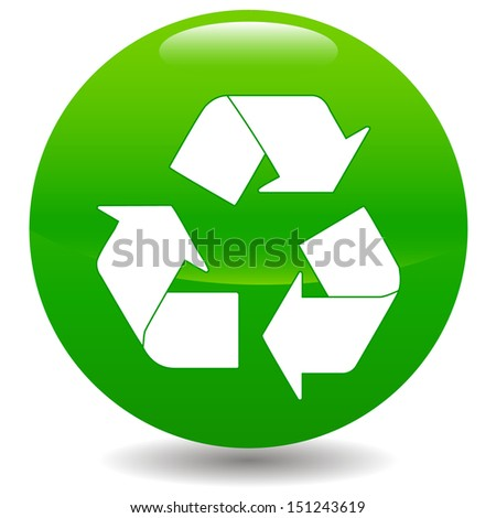 New green recycle symbol on a white background