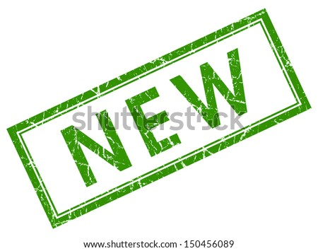 new green square stamp - stock photo