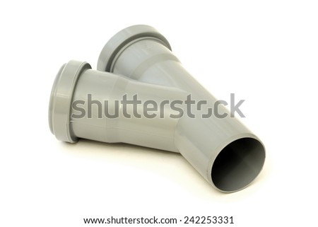 New grey drain pipe, isolated on a white background - stock photo