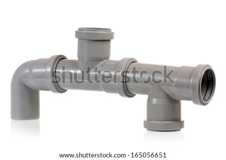 New grey drain pipe, isolated on white background - stock photo